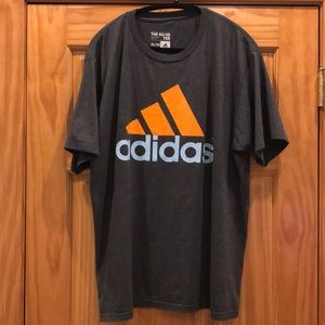Adidas 'The Go-To Tee' Shirt in Gray Orange & Blue